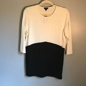 J.Jill Color Block Shirt in Cream/Black. Sz. M